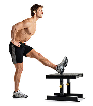 standing hamstring stretch with chair