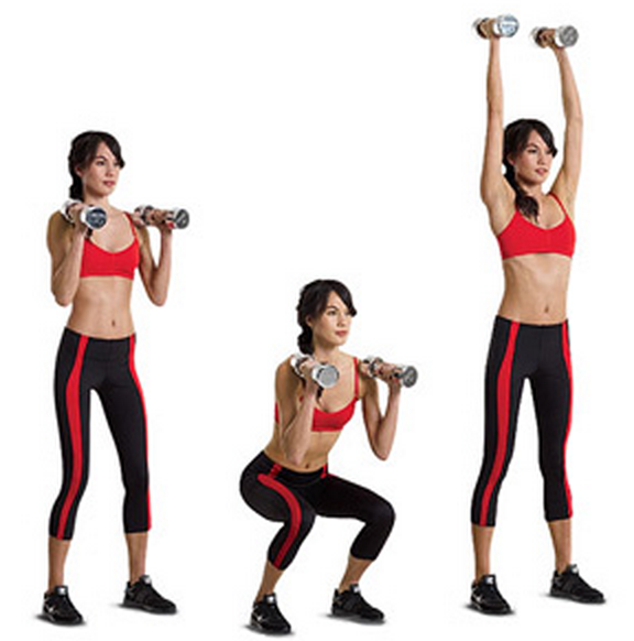 Dumbbell Squat Press Girl